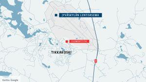 Kartta Jyväskylän Tikkakoskesta.