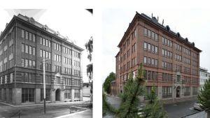 Mustavalko- ja nykypäivän kuva vierekkäin Kuopion keskustassa sijaitsevasta Konttisen liiketalosta.