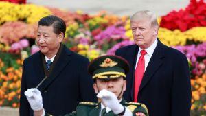 Presidentit seisovat rinnakkain. Soittokunnan kapellimestari heiluttaa puikkoa heidän edessään.