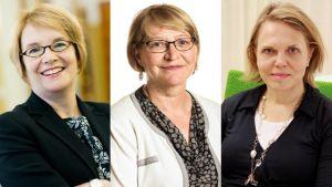 Minna Kivimäki, Marja Rislakki ja Sofie From-Emmesberger ovat Suomen EU-edustuston voimanaisia.