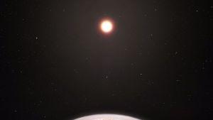 Taiteilijan luonnos siitä, miltä eksoplaneetta Ross 128b näyttää.