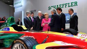 Liittokansleri Angela Merkel Frankfurtin automessuilla syyskuussa 2017.