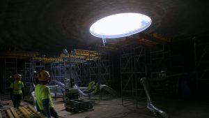 Amos Rex -museon rakennustyömaa Lasipalatsin aukiolla.