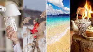 Kuvakollaasi kirkasvalolamppu, liikunta, ranta Thaimaassa ja teekannu takkatulen edessä.