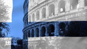 Kuvassa Colosseum on taustalla, Suomen lippu kuvan päällä kuultavana