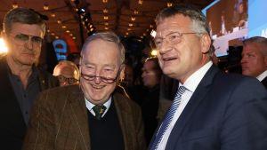 AfD-puolueen Alexander Gauland (vas.) ja Jörg Meuthen kättelivät Meuthenin saatua jatkokauden puolueen puheenjohtajana Hannoverissa Saksassa 2.12.2017.