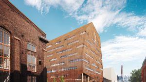 Tältä uusi rakennus näyttää Kaivopuistosta päin saapuville.