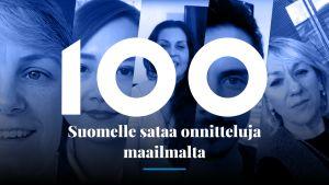 Onnitteluvideoita Suomelle lähettäneiden maailman kansalaisten kasvoja