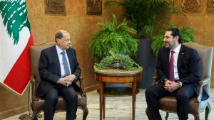 Libanonin presidentti Michel Aoun ja pääministeri Saad al-Hariri.