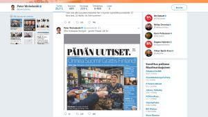 Kuvakaappaus Dagens Nyheter -lehden päätoimittajan Peter Wolodarskin twiitistä.