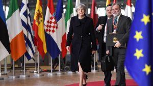 Britannian pääministeri Theresa May kuvattuna saapuessaan Brysseliin 14. joulukuuta.
