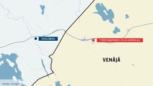 Kartta Vaalimaa Torfjanovkan kylä