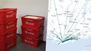 Flyttlådor och en karta över inflyttningen till Raseborg