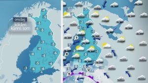Karta över Finland, prognos för 2.11.2016.