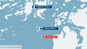 Karta över Espskär sydost om Pargas port