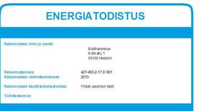 Energiatodistuksen mallikappale 3649173005