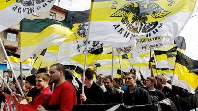 Venäläiset äärikansallismieliset nuoret marssivat Moskovassa vappupäivänä. bf09d2d61d