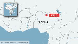 Karta över Nigeria.