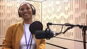 Minna Salami recording her summer speech