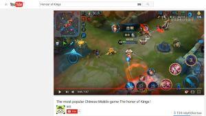 En screenshot från en video på Youtube av mobilspelet Honour of Kings.