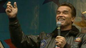 Arnold Schwarzenegger Suomessa 1991.