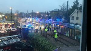 Olycksplatsen i Croydon, södra London.