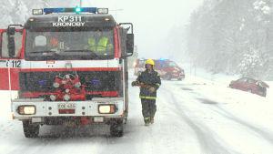 En bil, en buss och en älg inblandad i en trafikolycka.