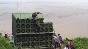 Högtalare vid gränsen mellan Nord och Sydkorea.