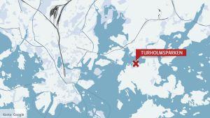 Karta som visar att Turholmsparken finns på norra sidan av Degerö.