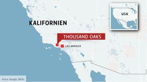 Karta över Kalifornien, Thousand oaks utmärkt.