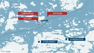 Karta. Heponkari, Kolkan och Tampankari.