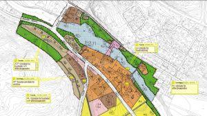 En karta över detaljplanen för Billnäs bruk i Raseborg.