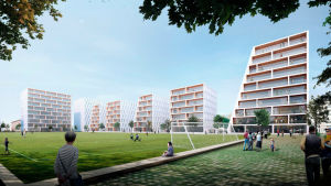 Illustrerande bild av hur Barkplan kunde se ut efter att den byggts om med höghus runt idrottsplanen.