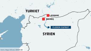 Karta över södra Turkiet och norra Syrien.