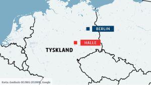 Karta över Tyskland med städerna Halle och Berlin.