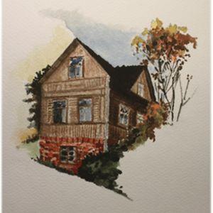 Stina Ericssons akvarell av ett hus i skymning.
