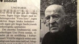 Dödsruna över Uno Forss.