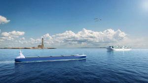 Animation av fjärrstyrda och autonoma fartyg vid Bengtskärs fyr.