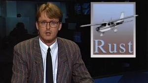 Kari Nihti juontaa uutisen Mathias Rustista (1987).