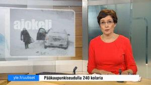 Uutisankkuri Marjukka Havumäki lukee uutisia.