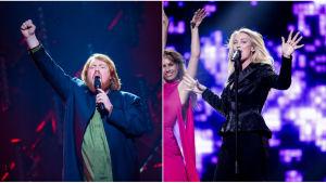 Martin Almgren och Jessica Andersson vid Melodifestivalens deltävling