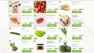 Skärmdump av närmatswebbsidan med lokala grönsaker.