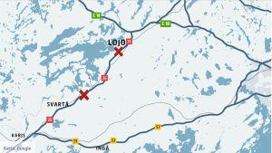 En karta som visar riksväg 25 mellan Lojo och Karis. Med två röda kryss har olycksplatser markerats.