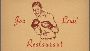 Joe Louis´Restaurant i New York City på II West 125th Street. Gammal reklamposter.