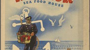 Affisch med reklam för en Sea Foodrestaurang.