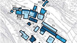 En karta över byggnader i Billnäs bruk.