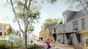 Förslagsskiss på Lilla byvägen i Nickby