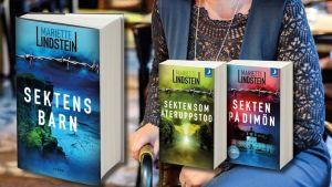 Mariette Lindsteins trilogi om sekten på Dimön, kom ut 2015 - 2017.