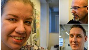 Fullmäktigeledamöterna Linnea Lindfors, Daniel hannus och Patrik Björkman