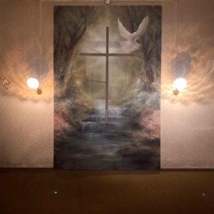 Älvkyrkan i Voitby Korsholms nya altartavla.